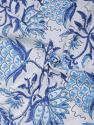 Blue-White Hand Block Printed Cotton Fabric