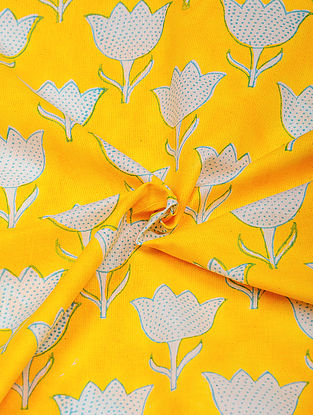 Yellow-White Hand Block Printed Cotton Fabric