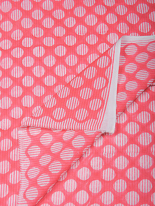 Red-White Hand Block Printed Cotton Fabric