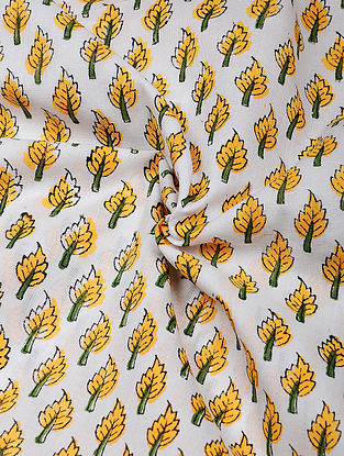 Yellow-Green Hand Block Printed Cotton Fabric