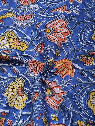 Multicolored Hand Block Printed Cotton Fabric