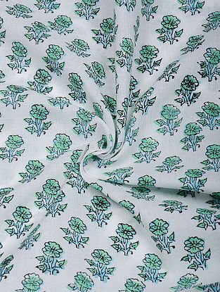Green-White Hand Block Printed Cotton Fabric