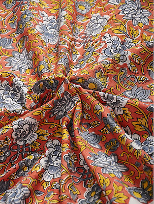 Rust-Grey Hand Block Printed Cotton Fabric