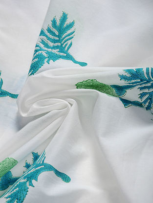 Blue-Green Hand Block Printed Cotton Fabric