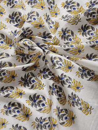 Blue-Yellow Hand Block Printed Cotton Fabric
