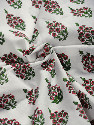 Red-Green Hand Block Printed Cotton Fabric