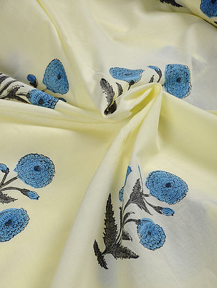 Off White-Blue Hand Block Printed Cotton Fabric