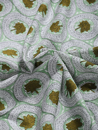 Green Hand Block Printed Cotton Fabric