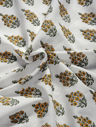 White-Yellow Hand Block Printed Cotton Fabric