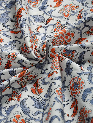 White-Orange Hand Block Printed Cotton Fabric