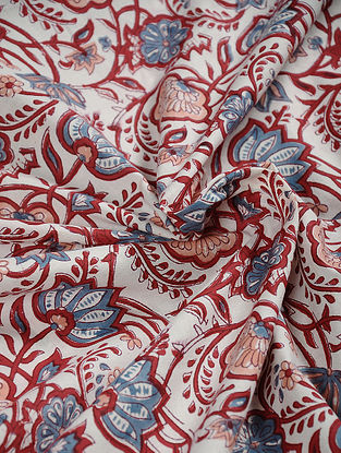 White-Red Hand Block Printed Cotton Fabric
