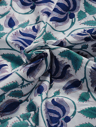 White-Blue Hand Block Printed Cotton Fabric