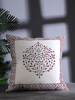 White and Brown Hand Block-printed Cotton Cushion Cover (16in x 16in)