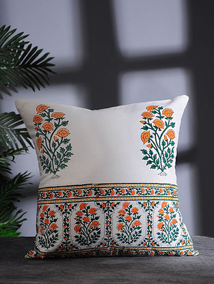White-Multicolor Hand Block-printed Cotton Cushion Cover (16in x 16in)