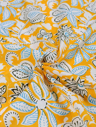 Yellow-Multicolor Hand Block Printed Cotton Upholstery Fabric