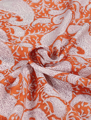 Orange and White Hand Block Printed Cotton Upholstery Fabric