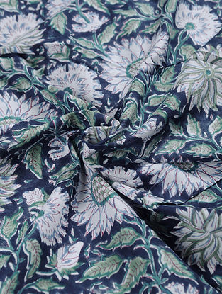 Blue-Multicolor Hand Block Printed Cotton Upholstery Fabric
