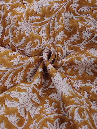 Brown and White Hand Block Printed Cotton Upholstery Fabric