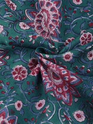 Green-Multicolor Hand Block Printed Cotton Upholstery Fabric