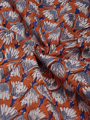 Orange-Multicolor Hand Block Printed Cotton Upholstery Fabric