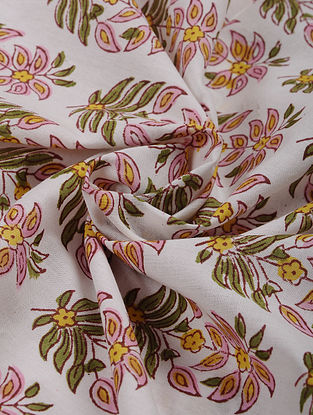 White-Multicolor Hand Block Printed Cotton Upholstery Fabric