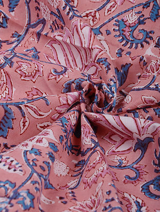 Pink-Multicolor Hand Block Printed Cotton Upholstery Fabric