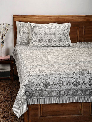 Grey and White Handblock Printed Cotton Double Bedcover with Pillow Covers (Set of 3)