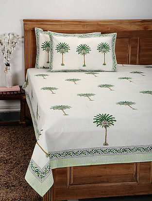 White and Green Handblock Printed Cotton Double Bedcover with Pillow Covers (Set of 3)