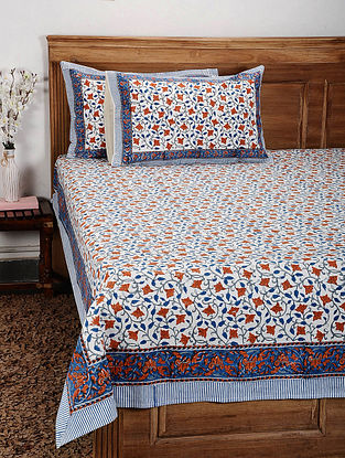 White-Multicolor Handblock Printed Cotton Double Bedcover with Pillow Covers (Set of 3)