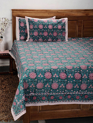 Green and Red Handblock Printed Cotton Double Bedcover with Pillow Covers (Set of 3)