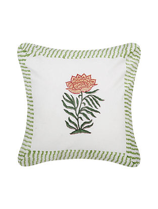 White and Green Handblock Printed Cotton Cushion Cover (16in x 16in)