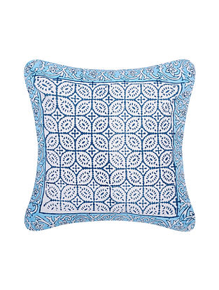 Blue and White Handblock Printed Cotton Cushion Cover (16in x 16in)