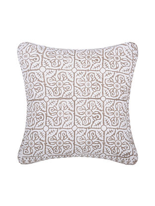Brown and White Handblock Printed Cotton Cushion Cover (16in x 16in)