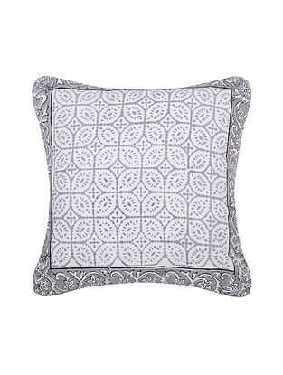 Grey and White Handblock Printed Cotton Cushion Cover (16in x 16in)