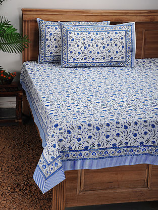 Blue-White Block-printed Cotton Bed Cover with Pillow Covers (Set of 3)