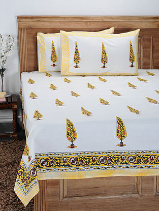 Yellow-Multicolor Hand Block-printed Cotton Double Bedcover with Pillow Covers (Set of 3)