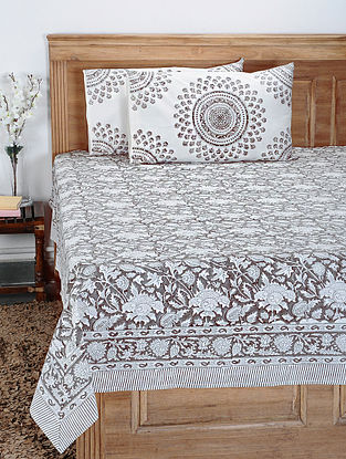 White and Grey Hand Block-printed Cotton Double Bedcover with Pillow Covers (Set of 3)