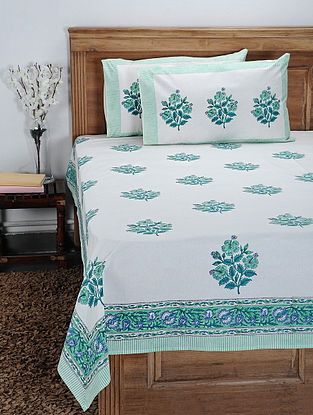 Blue-Multicolor Hand Block-printed Cotton Double Bedcover with Pillow Covers (Set of 3)