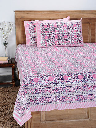 Pink-Multicolor Hand Block-printed Cotton Double Bedcover with Pillow Covers (Set of 3)