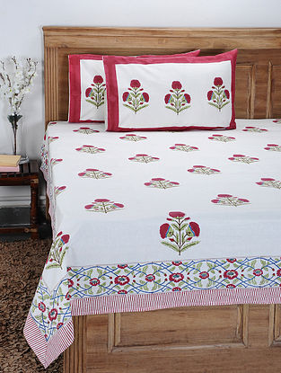Red-Multicolor Hand Block-printed Cotton Double Bedcover with Pillow Covers (Set of 3)