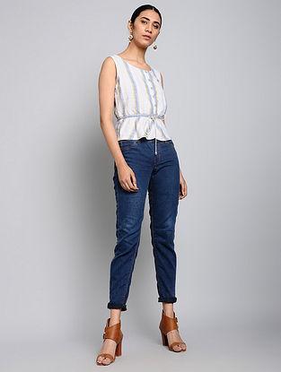 Chestnut Blue Handwoven Cotton Top