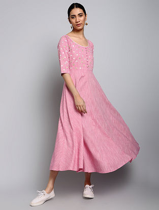 Pink Yarn-Dyed Cotton Dress with Mirror work