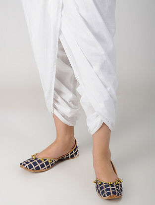 Blue Handcrafted Modal And Leather Juttis With Gota Lace