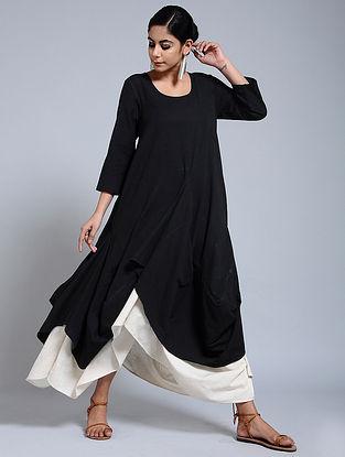 Black-Ivory Cotton Flax Tunic