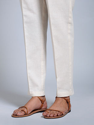 Ivory Cotton Flax Pants