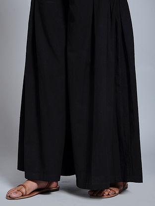 Black Cotton Flax Pants