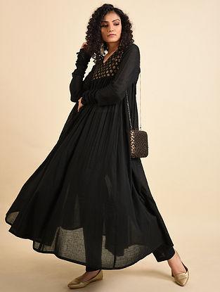Black Hand Embroidered Mul Anarkali Kurta with Pants (Set of 2)