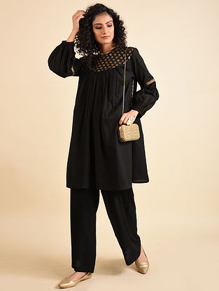 Black Hand Embroidered Mul Tunic with Palazzos (Set of 2)