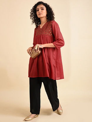 Red Hand Embroidered Mul Tunic with Palazzos (Set of 2)