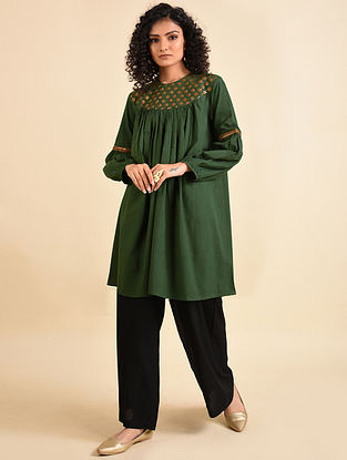 Olive Green Hand Embroidered Mul Tunic with Palazzos (Set of 2)